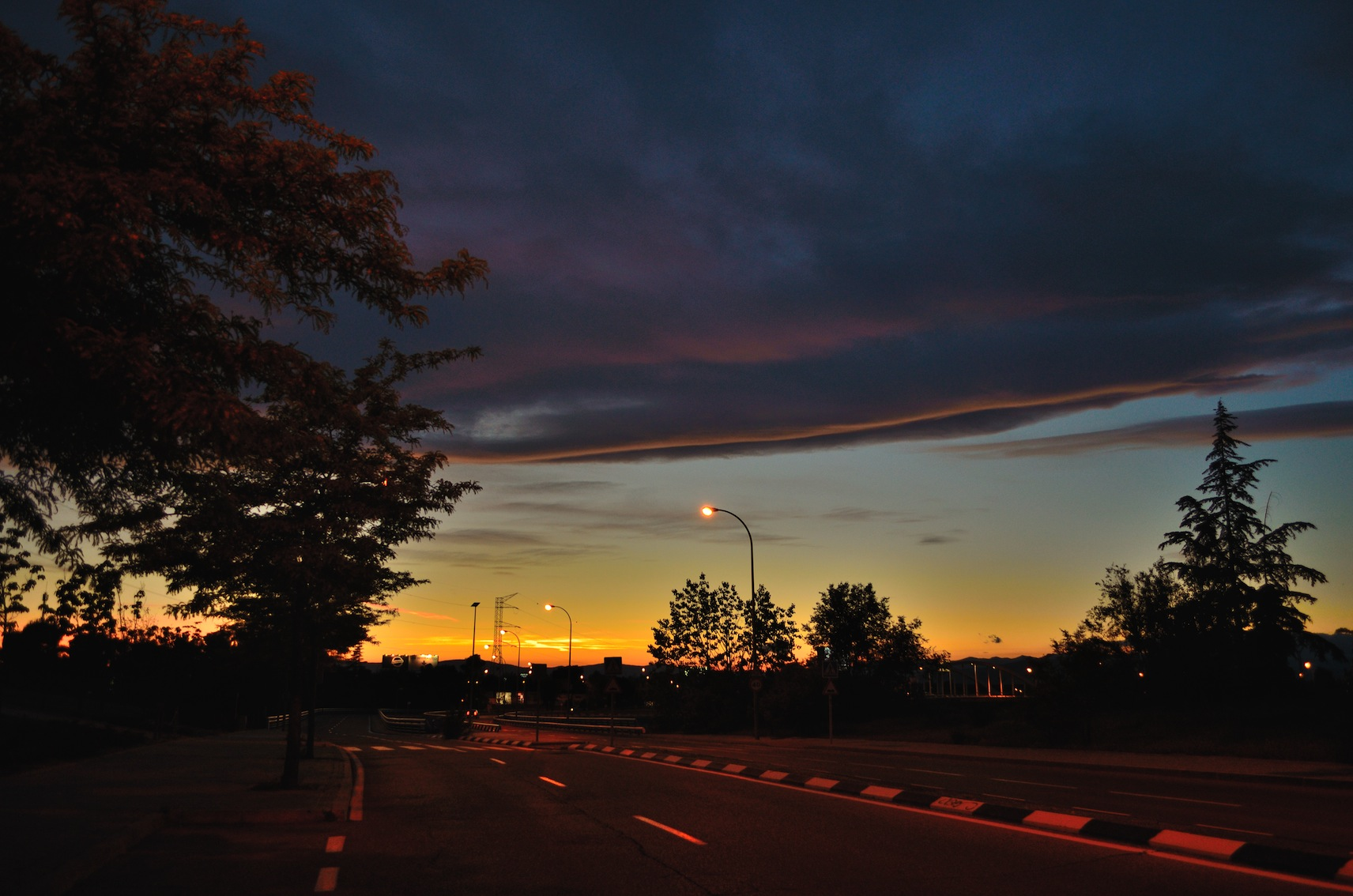Cloud by dusk in urban road