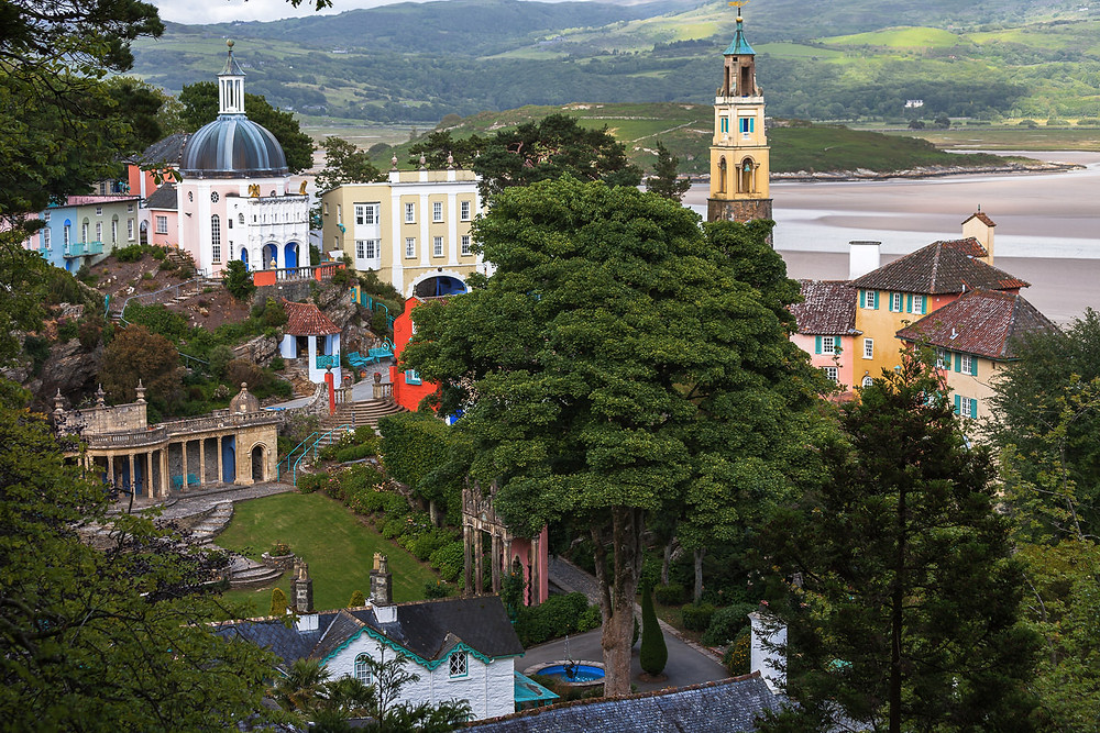 Italy inspired village of Portmeirion in North Wales captured from above