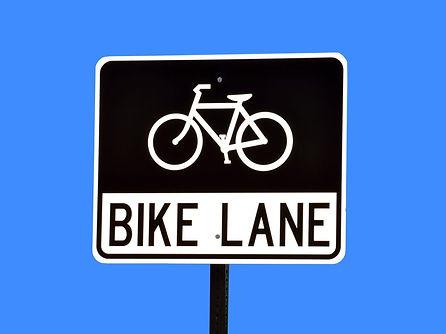 Sign showing a bike lane