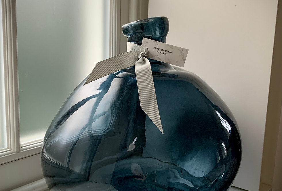 LARGE HAND BLOWN VASE - BLUE