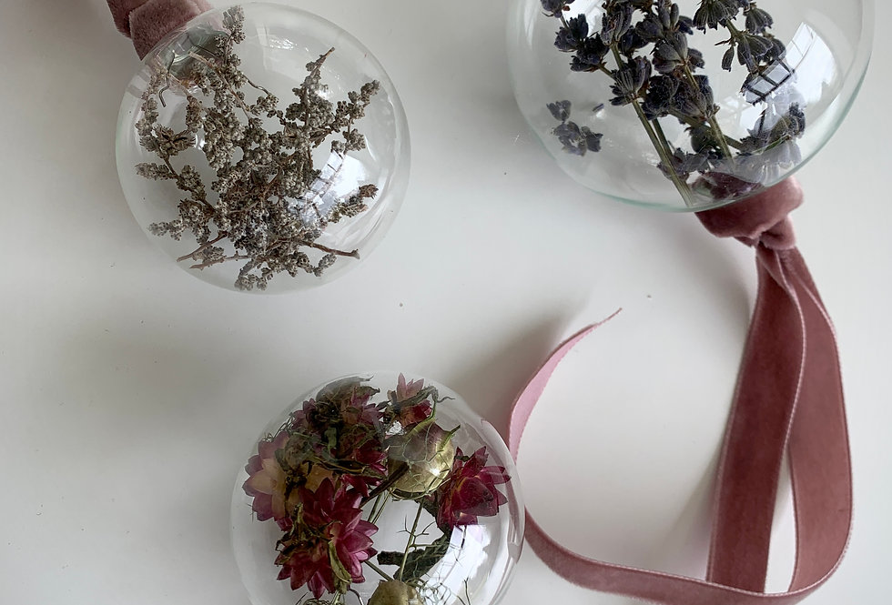 FLORAL BAUBLE - SET OF 3- DUSTY PINK