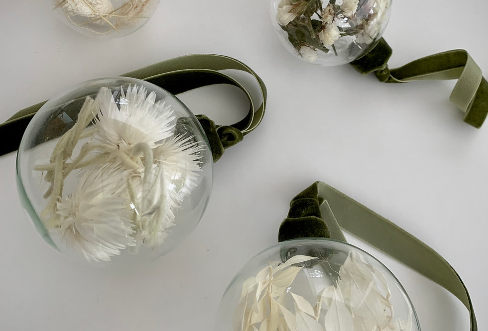 FLORAL BAUBLE - SET OF 4 -GREEN