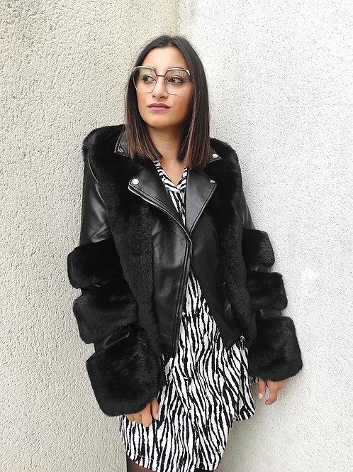 Veste bimatière faux fur - Noir