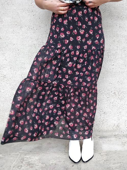 Jupe longue à fleurs - Noir
