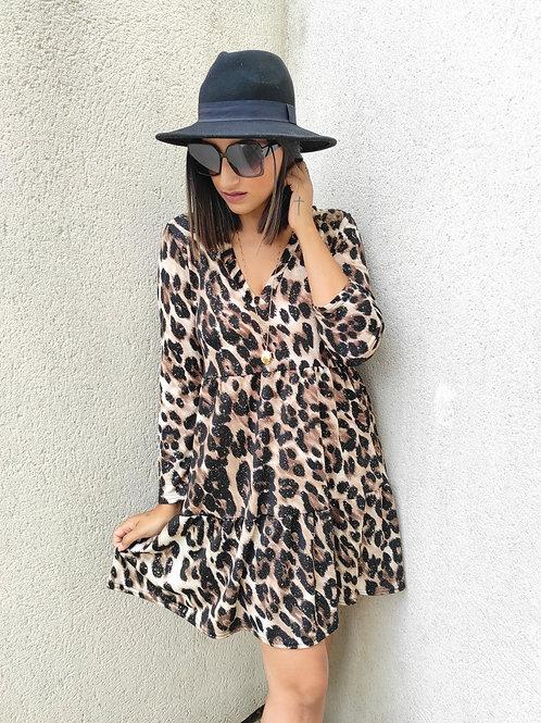 Robe évasée léopard