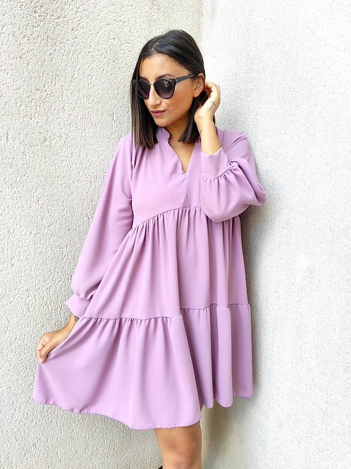 Robe volants manches longues - Lilas