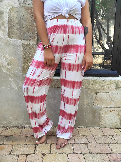 Pantalon large Tie & Dye - Rose