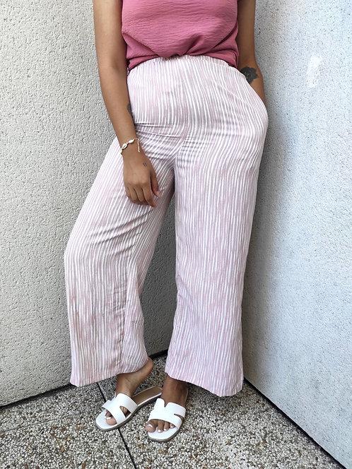 Pantalon évasé à rayures - Blanc/Rose