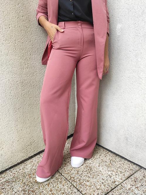 Pantalon tailleur large - Vieux Rose