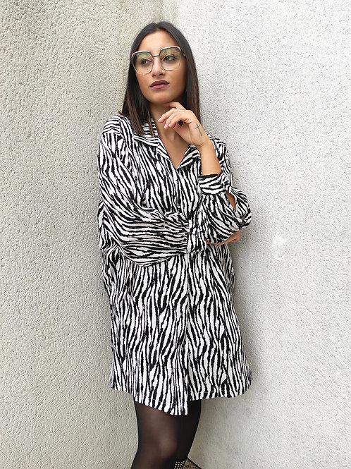 Robe chemise zèbre - Noir