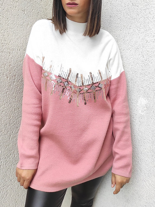 Pull bicolore sequins - Rose