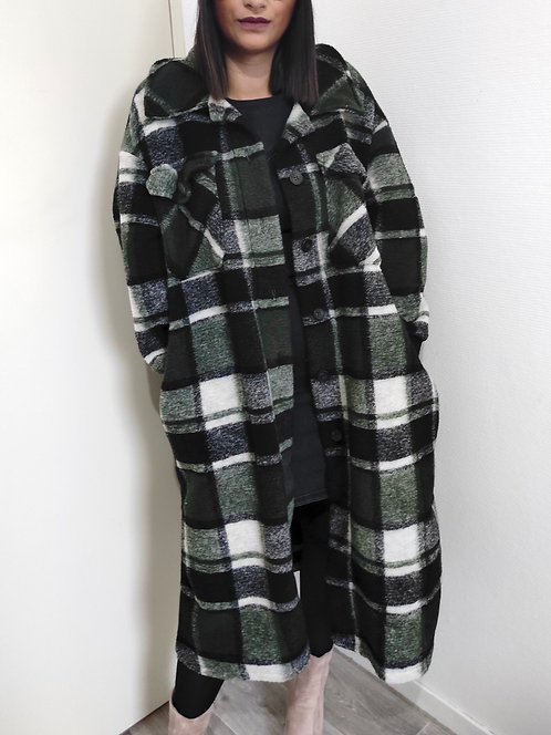 Surchemise en laine à carreaux - Kaki
