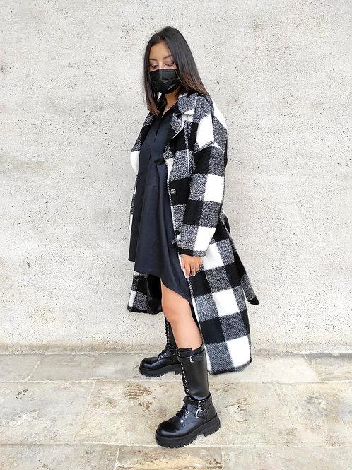 Manteau en lainage à carreaux - Noir