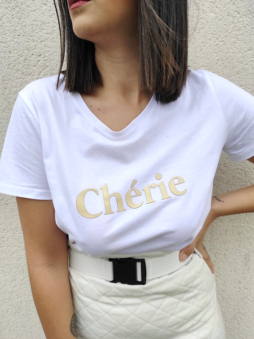 T-shirt Chérie - Blanc/Or