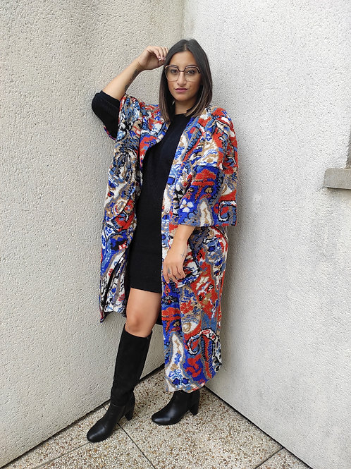 Manteau long motifs - Bleu