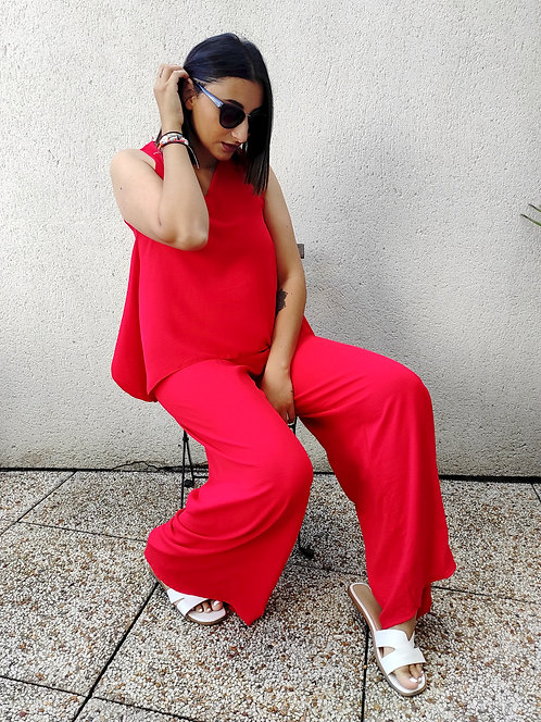 Ensemble top et pantalon - Rouge