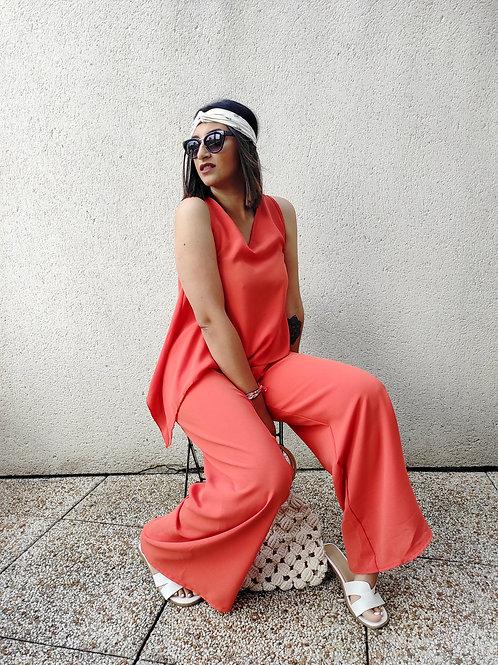 Ensemble top et pantalon - Rouge/Orange