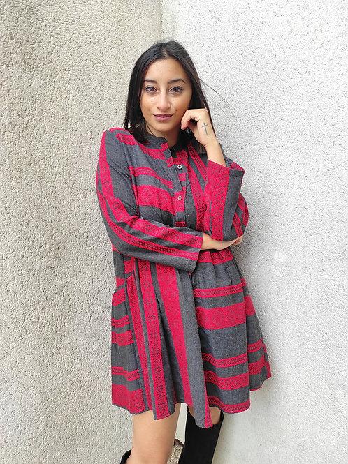 Robe courte motifs - Rouge