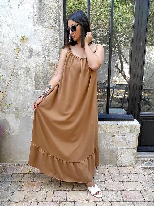 Robe longue volant - Camel