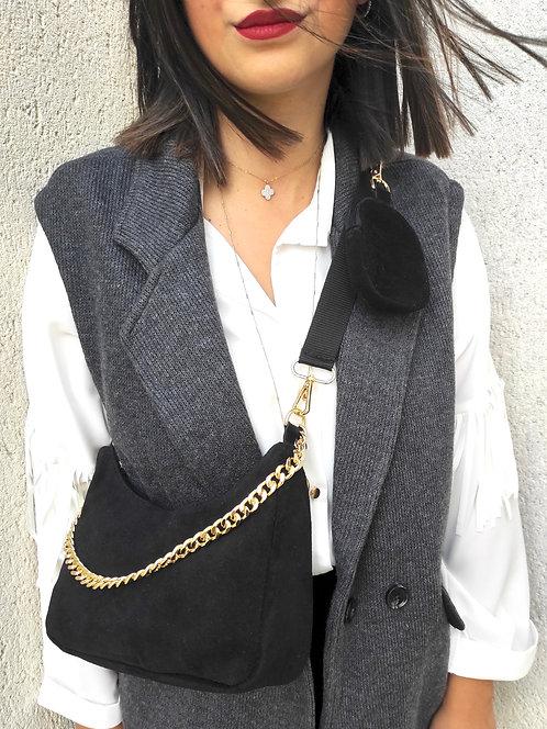Sac en cuir poche - Noir