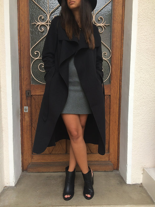 Manteau long en laine - Noir