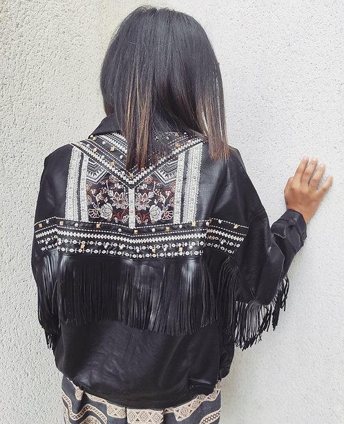 Veste à franges brodée - Noir