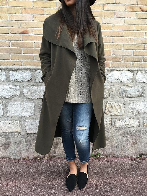 Manteau long en laine - Kaki