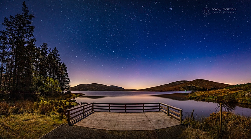 Stunning night sky over Spelga Dam, County Down