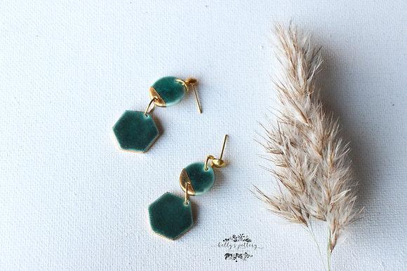 Porcelain earrings Emerald combi