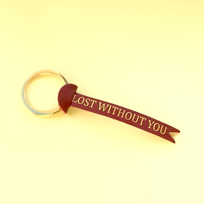 Keychain leather 'Lost without you'