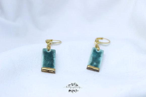 Porcelain earrings Emerald