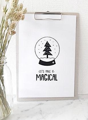 Poster snowball on a grey cardboard clipboard