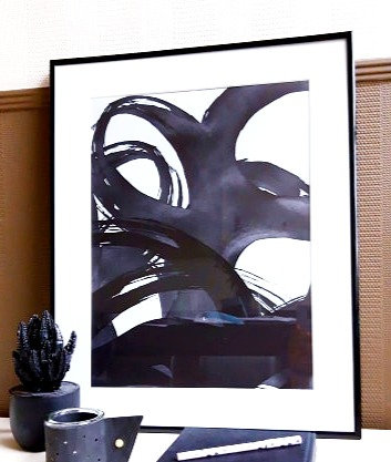 Ingelijste print 'black strokes' 40x50