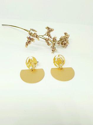 Earring 'Golden sparkles' halve maan