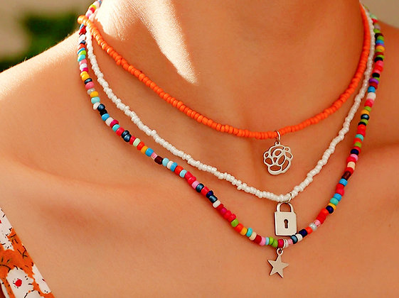 Boho style necklace in 3 different colors