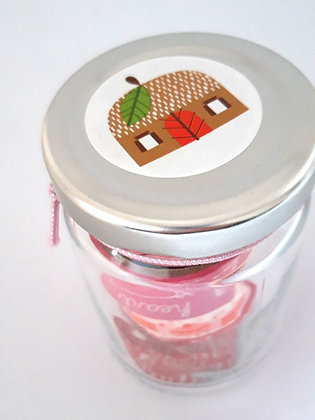 Glazen potje met washitape 'Huisje'
