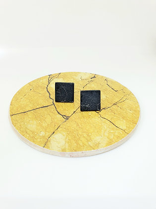 Earring marble square in black or white