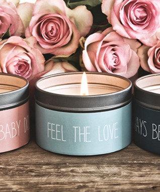 Soya geurkaars in blik M 'Feel the Love'