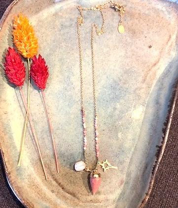 FLOWBILLIES Necklace Gold & pink