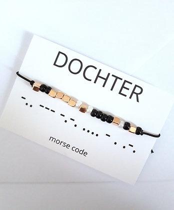 Bracelet morsecode DOCHTER in.3 varianten