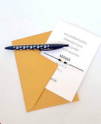 Mama special kaart met morsecode armbandje zwart incl. luxe envelop