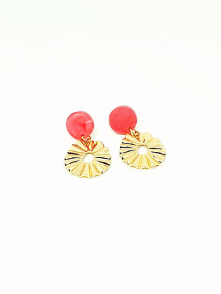 Gold reliëf earring pink