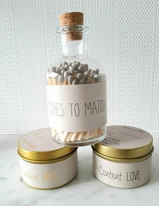Geschenkje : 2 geurkaarsjes Small + Potje lucifers 'Matches to match'