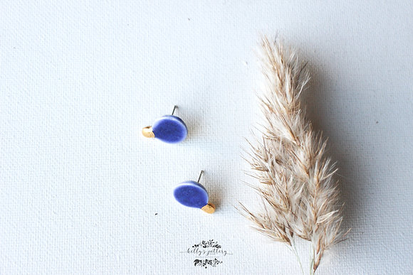 Porcelain earrings blue Xmas