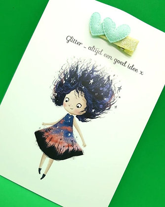 Card with hairpin 'blue heart'