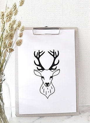Poster reindeer on grey cardboard clipboard