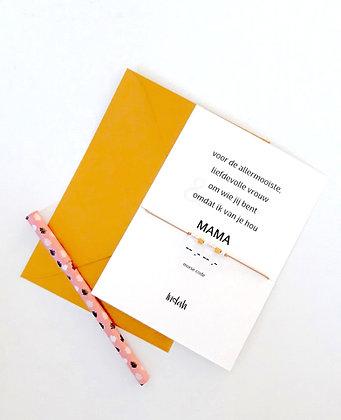 Mama special kaart met morsecode armbandje beige incl. luxe envelop