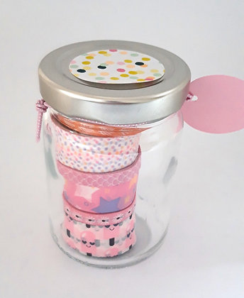 Glazen potje met washitape 'Pink dots'