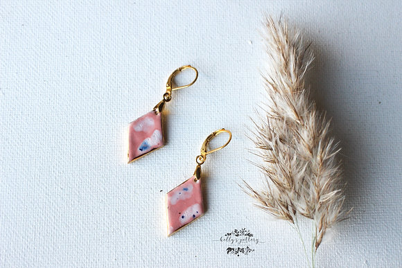 Porcelain earrings Pink lady