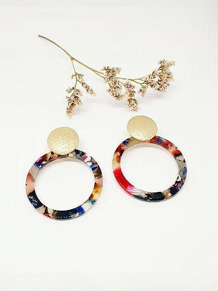 Colourful raisin earring Gold